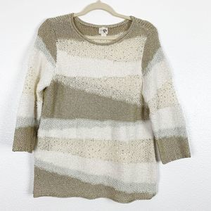 Chico's Colorblock Stripe Knitted Long Sleeve Top